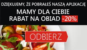 Za pobranie aplikacji RABAT 20% na obiad